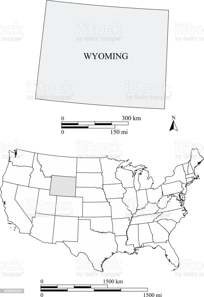 Wyoming State Of United States Map Vector Outlines With ...