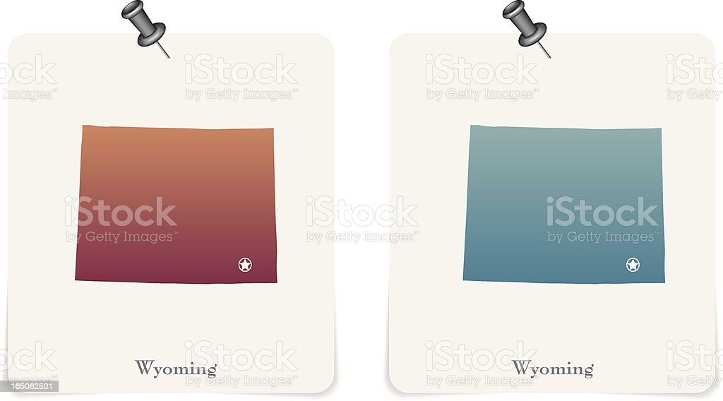 Wyoming state red and blue cards royalty-free stock vector art