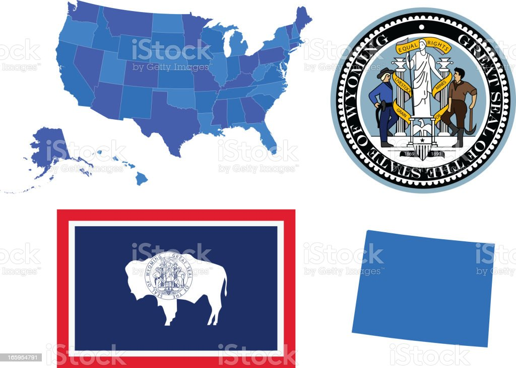 Wyoming state set royalty-free wyoming state set stock vector art & more images of american flag