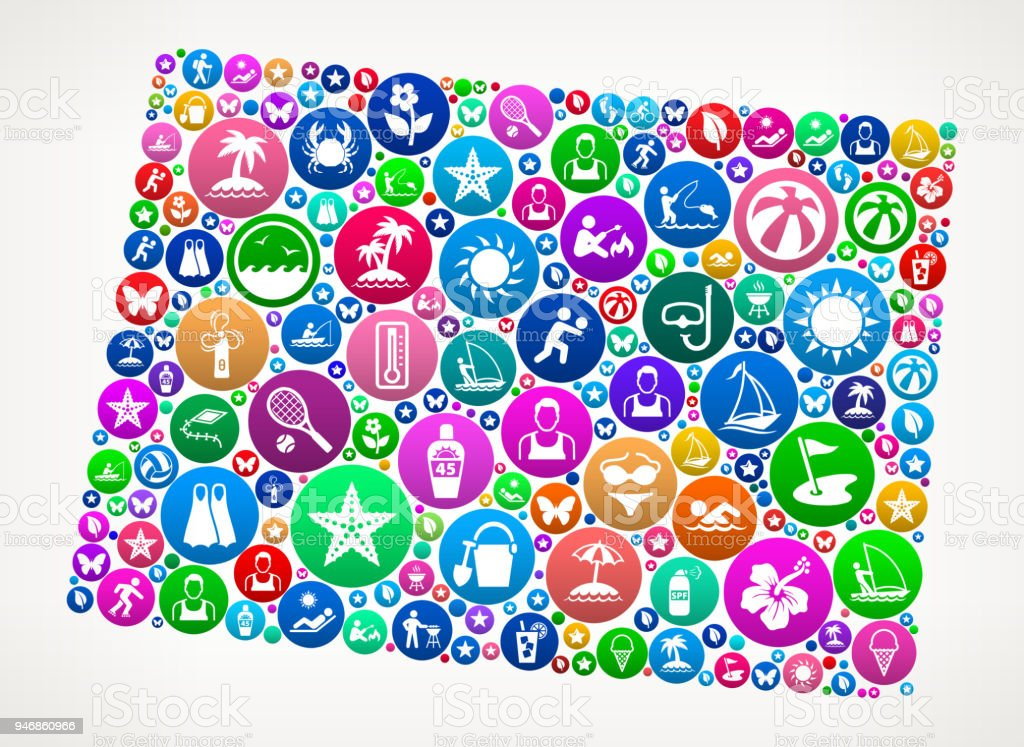 Wyoming Summer Vacation Colorful Icon Pattern Royalty Free Wyoming Summer Vacation Colorful Icon Pattern Stock