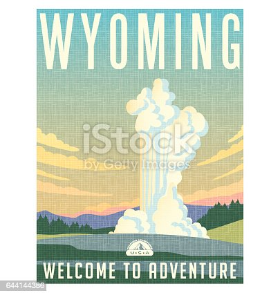 Wyoming travel poster or sticker. Vector illustration of water and steam erupting from geyser.