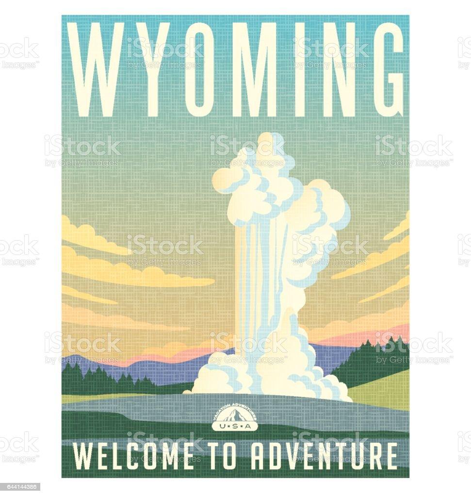 Wyoming voyage affiche ou autocollant. Illustration vectorielle de l'eau et de vapeur de l'éruption du geyser. - Illustration vectorielle