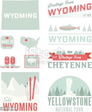 A set of vintage-style icons and typography representing the state of Idaho, including Cheyenne and Yellowstone. Each items is on a separate layer. Includes a layered Photoshop document. Ideal for both print and web elements.