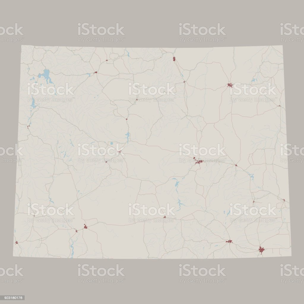 Wyoming Us State Road Map Stock Vector Art More Images Of Aerial - Wyoming-us-map