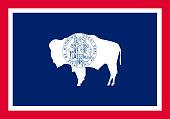 Wyoming vector flag. Vector illustration. United States of Ameri