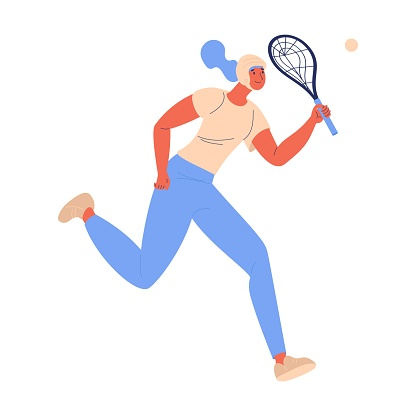 Xare sport woman in helmet running with racket isolated on white. Concept healthy lifestyle illustration with female character.