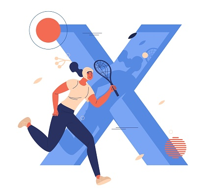 Xare sport woman running with racket in hands. Large letter X drawn in blue color isolated on white