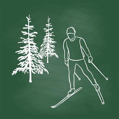 X-Country Skate Skiing Chalkboard