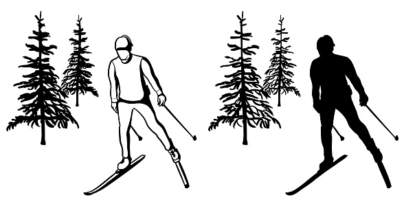 X-Country Skate Skiing Silhouette