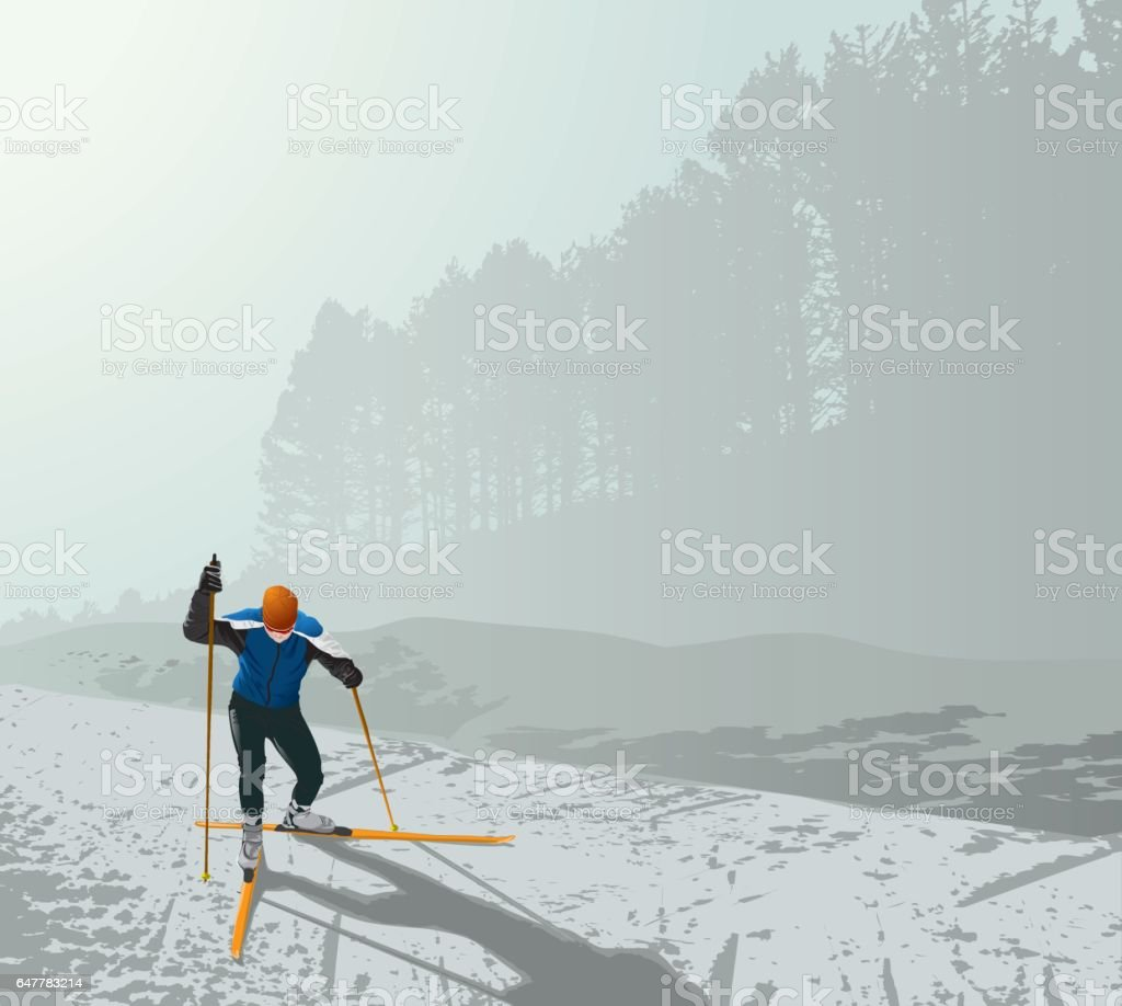 Xc-skiing vector art illustration