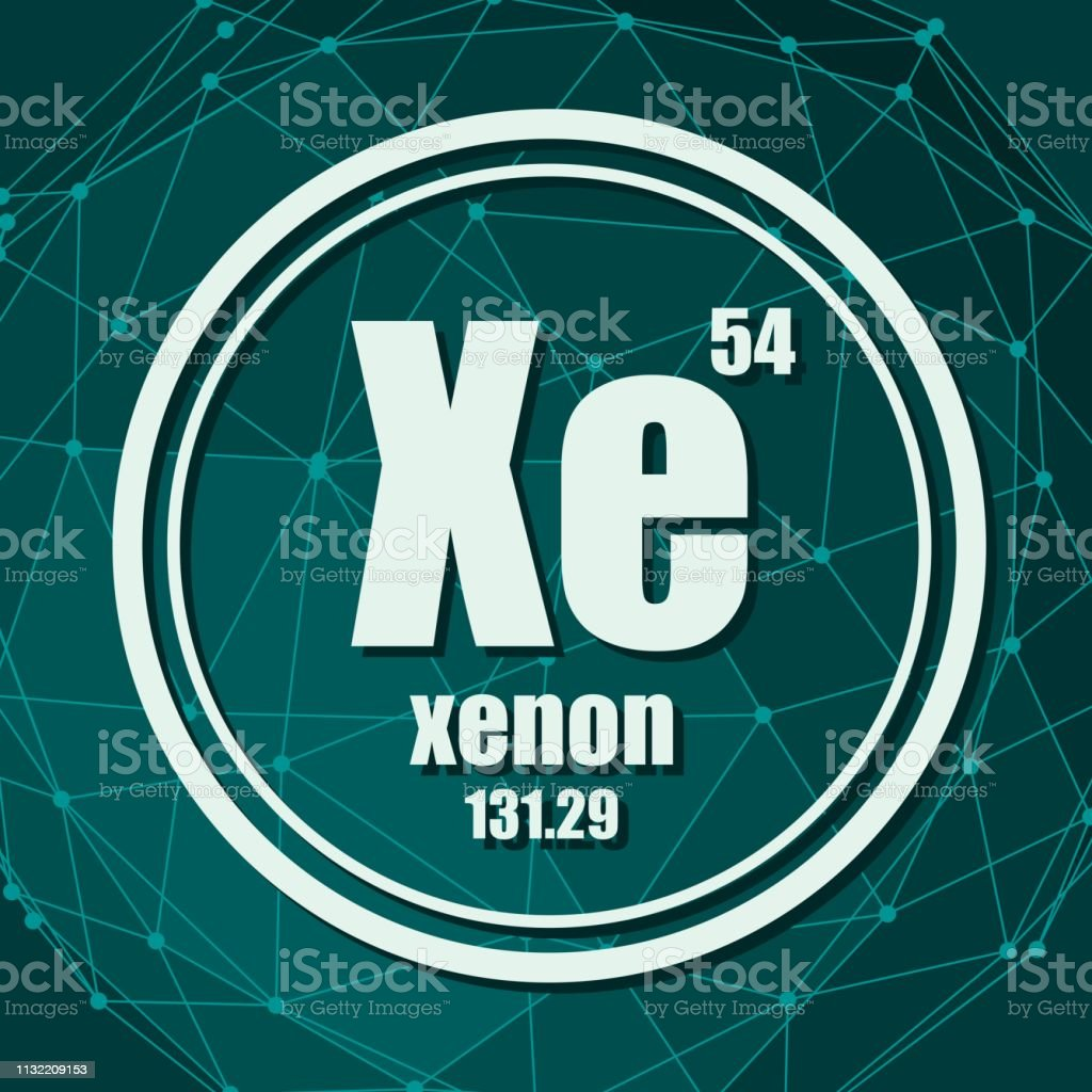 Xenon chemical element. Sign with atomic number and atomic weight....