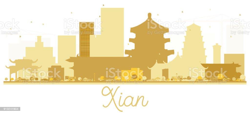 Xian China City skyline golden silhouette. vector art illustration