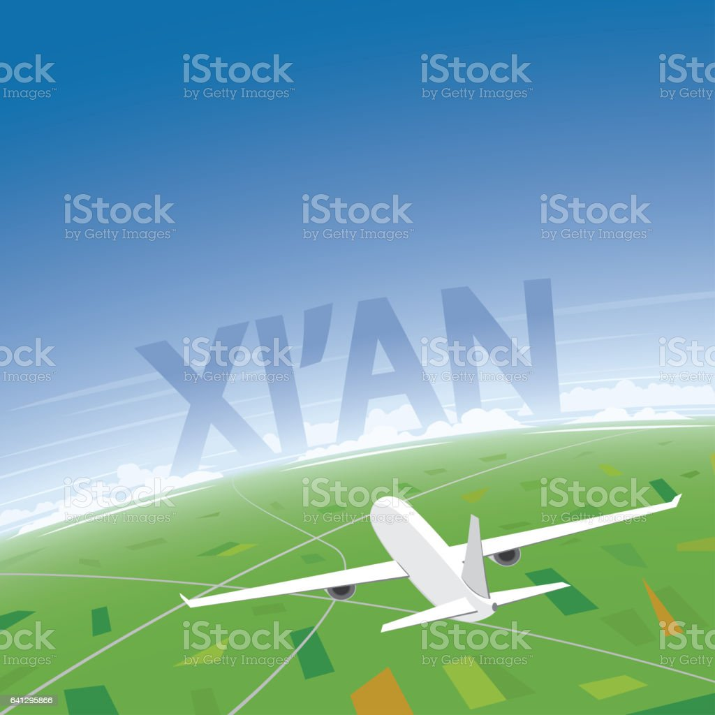 Xi'an Flight Destination vector art illustration
