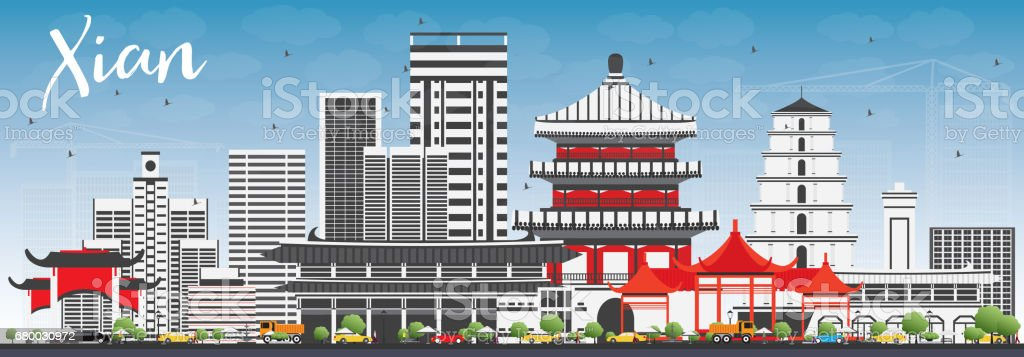 Xian Skyline with Gray Buildings and Blue Sky. vector art illustration