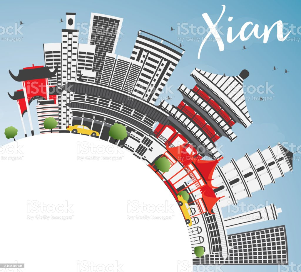 Xian Skyline with Gray Buildings, Blue Sky and Copy Space. vector art illustration