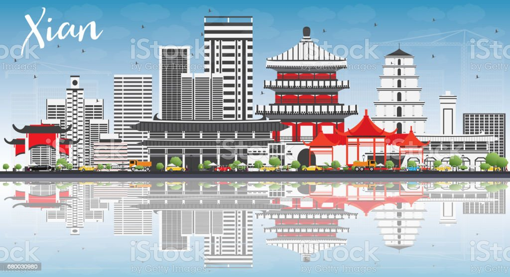 Xian Skyline with Gray Buildings, Blue Sky and Reflections. vector art illustration