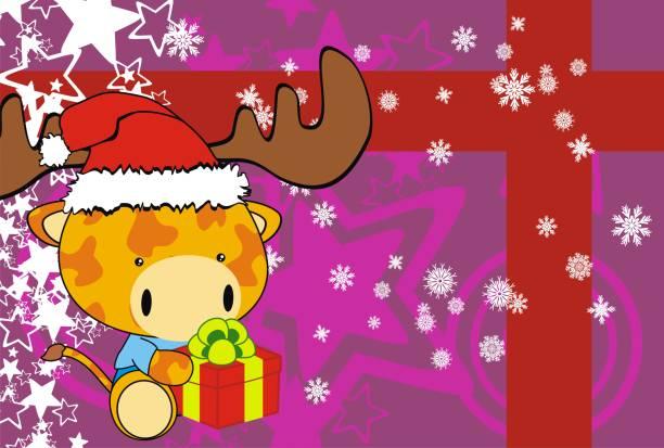 xmas-baby-giraffe cartoon geschenk hintergrund - giraffenkostüm stock-grafiken, -clipart, -cartoons und -symbole