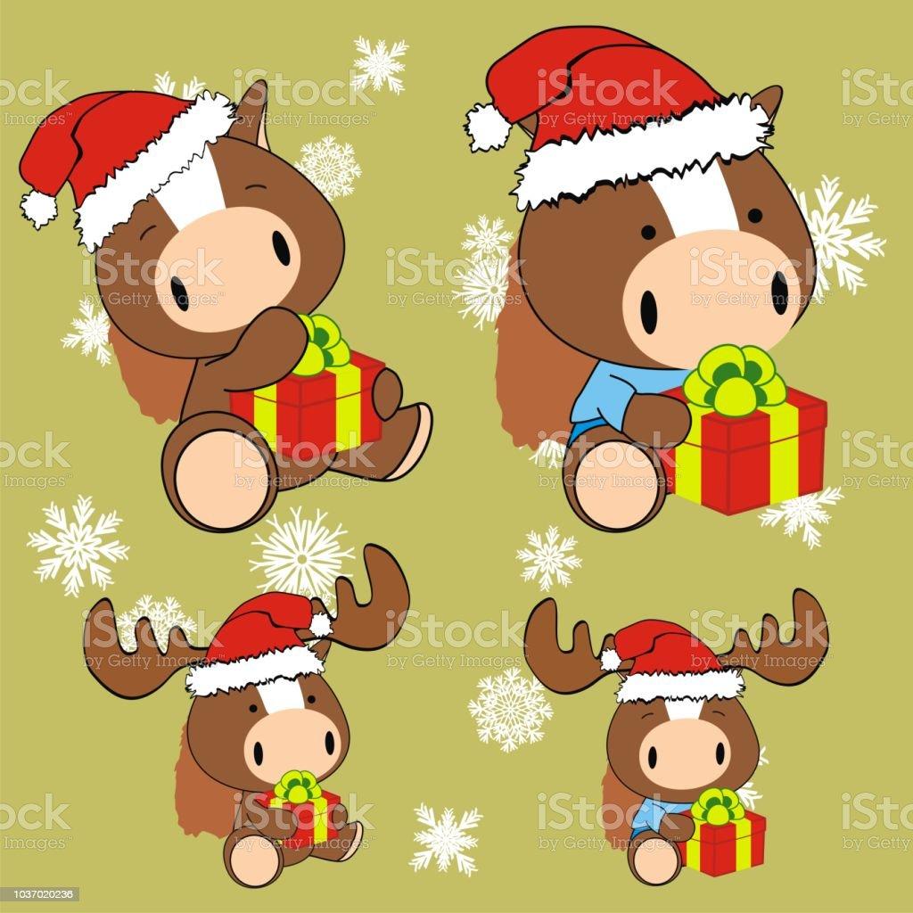 Weihnachten Baby Plüsch Pferd Cartoon Collection Stock Vektor Art ...
