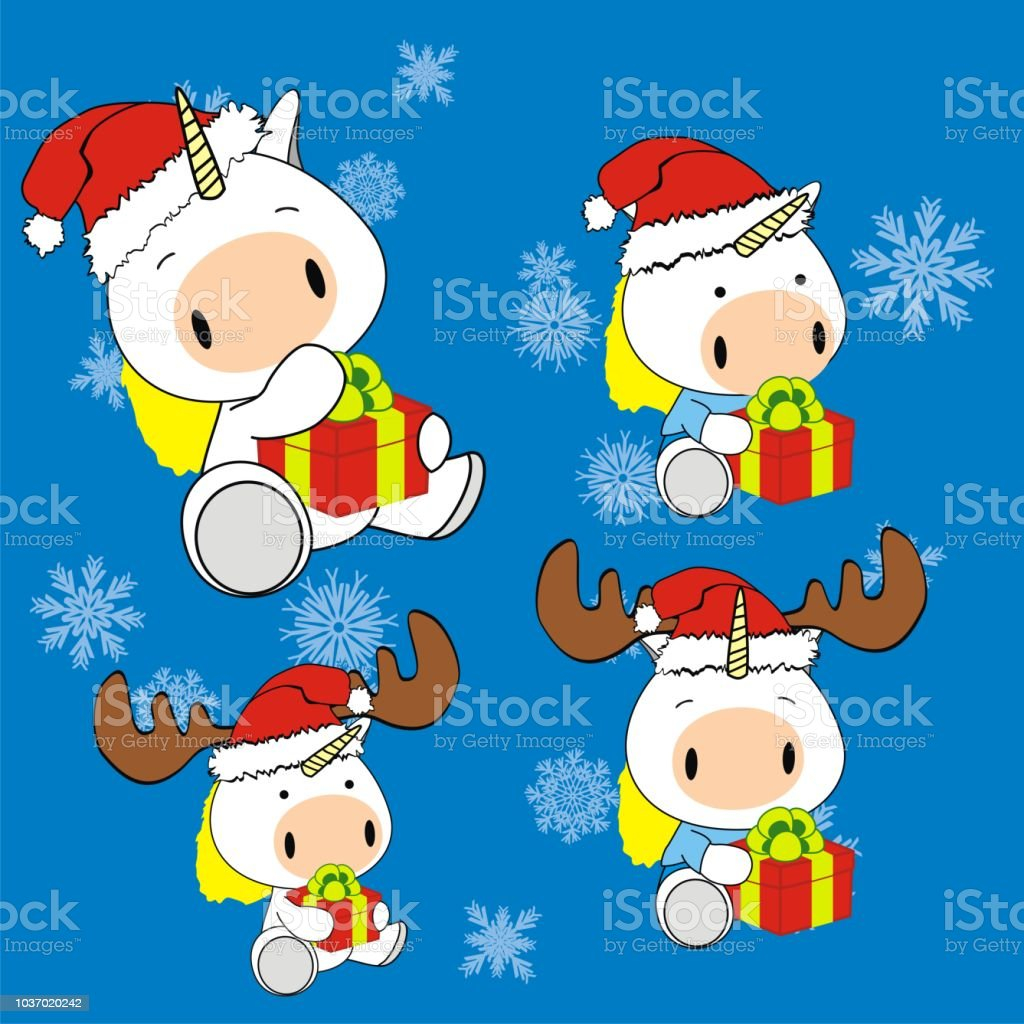 Weihnachten Baby Plüsch Einhorn Cartoon Collection Stock Vektor Art ...