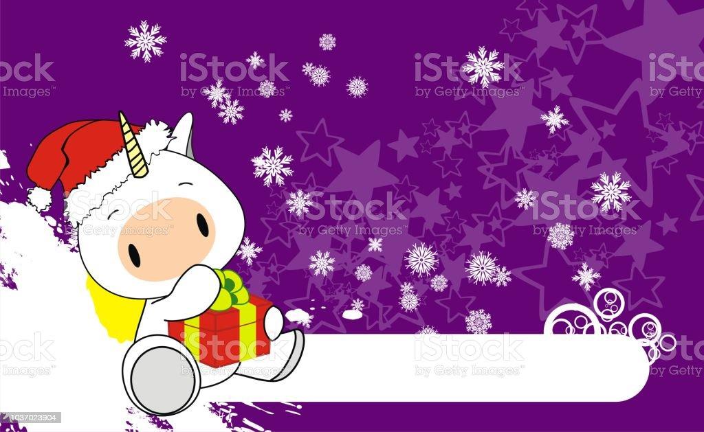 Licorne De Bebe De Noel Fond De Dessin Anime Pour Le Chapeau Claus
