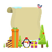 Sheet of paper banner for invitation text, greeting, postcard. Christmas symbol elements candles, fir trees, penguin, gift boxes. Xmas holiday concept. Merry Christmas and Happy New Year poster. Vector