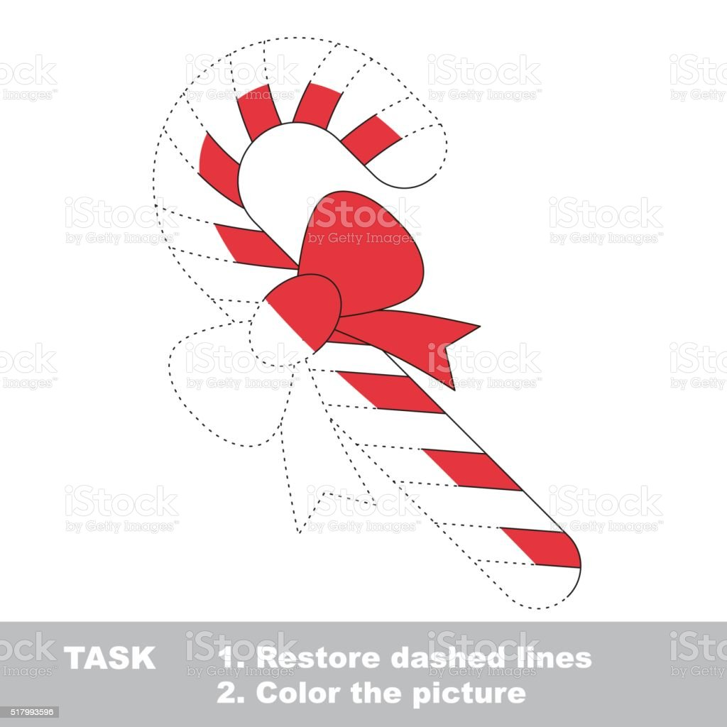 xmas candy cane to be colored vector trace game royalty free xmas candy cane