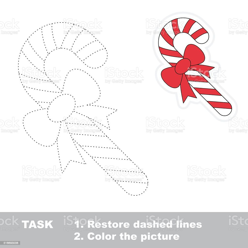 xmas candy cane to be traced vector trace game royalty free xmas candy cane