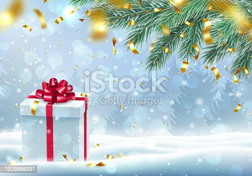 istock Xmas card with present box and copy space for text 1329866331
