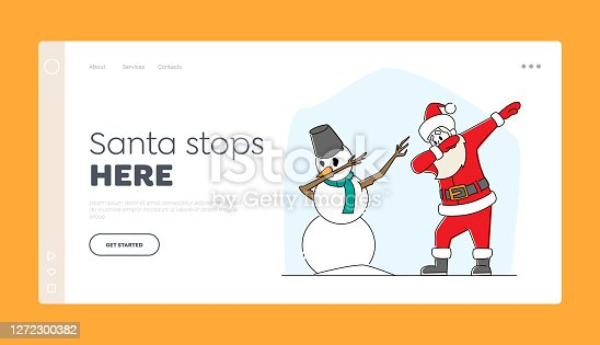 istock Xmas Celebration, Santa Claus and Snowman Dabbing Landing Page Template. Funny Man in Red Costume Dab Disco Dancing 1272300382