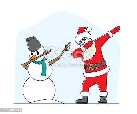 istock Xmas Celebration, Santa Claus and Snowman Dabbing Motion. Funny Man in Red Costume Dab Disco Modern Dancing Party 1271084534