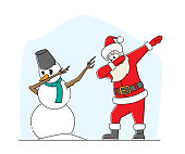 Xmas Celebration, Santa Claus and Snowman Dabbing Motion. Funny Man in Red Costume Dab Disco Dancing. Christmas Characters Performing Modern Dance at Party, Isolated Linear Vector Illustration