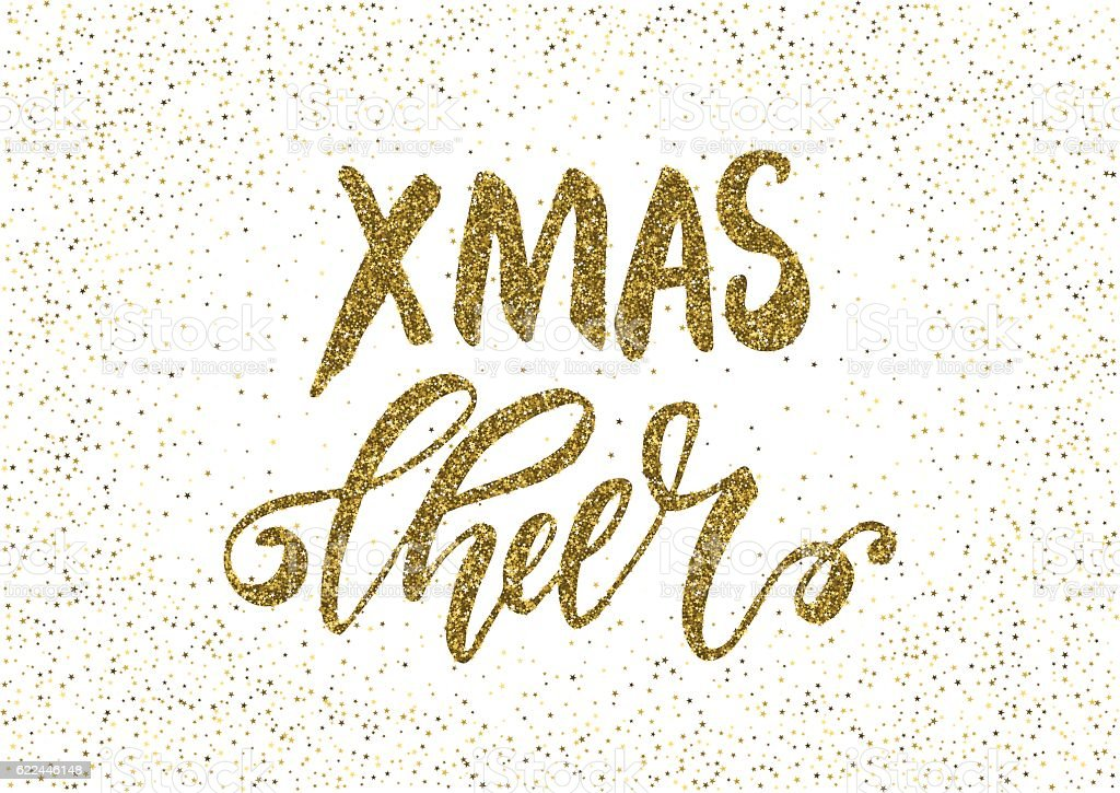 Xmas Cheer- freehand ink hand drawn calligraphic design vector art illustration