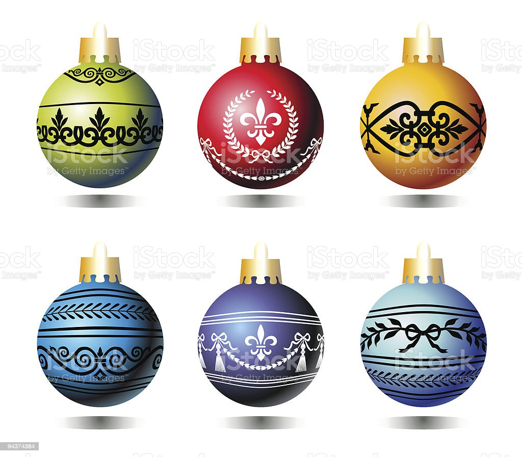 Xmas colorful balls vector art illustration