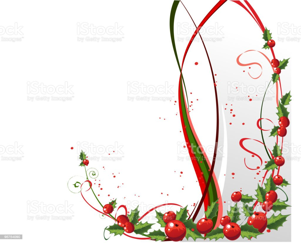 X-mas design with holly royalty-free stock vector art