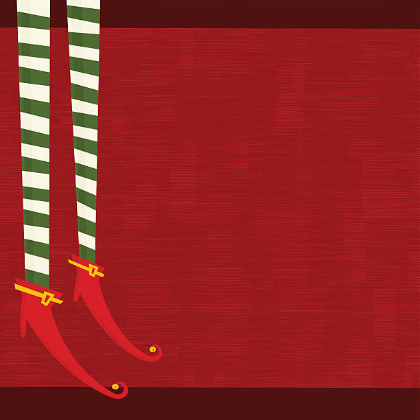 Xmas Elf legs vector art illustration