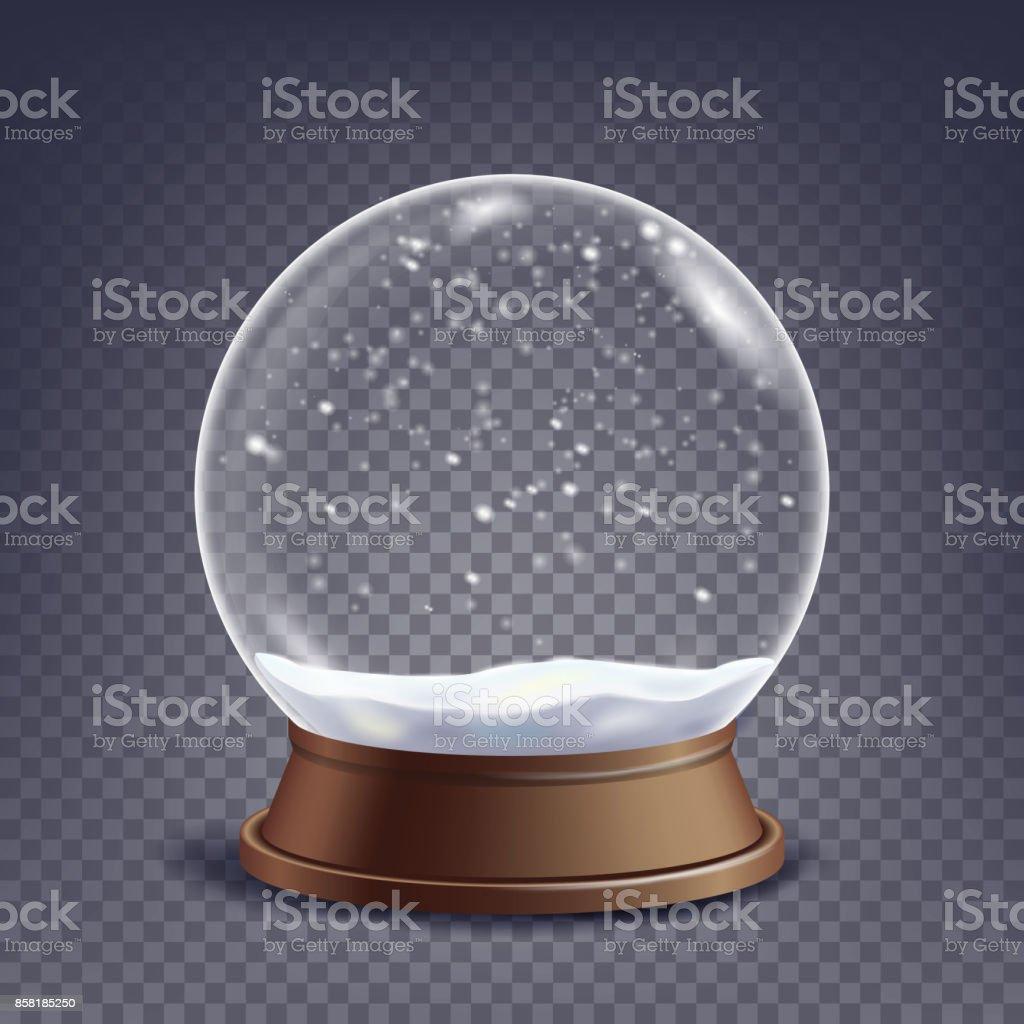 Navidad nieve vacío mundo Vector. Invierno Navidad esfera de Element.Glass de diseño en un soporte. Aislado en ilustración de fondo transparente - ilustración de arte vectorial