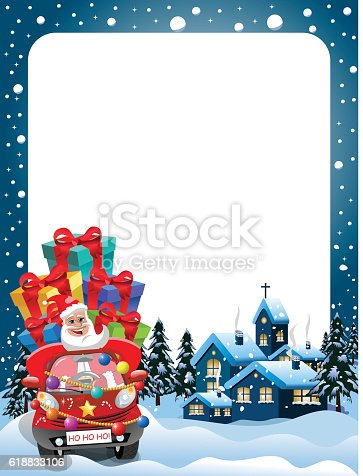 Ilustración de Xmas Frame Santa Claus Driving Car Gifts Xmas Night y ...