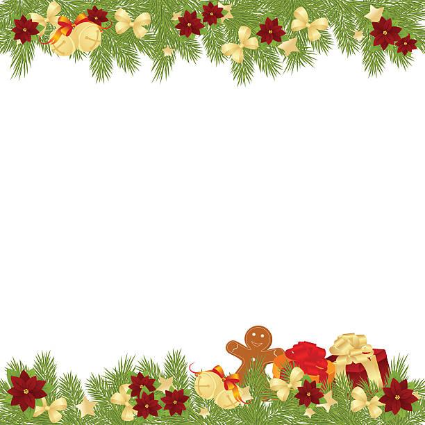 weihnachten-frame - blumengirlanden stock-grafiken, -clipart, -cartoons und -symbole
