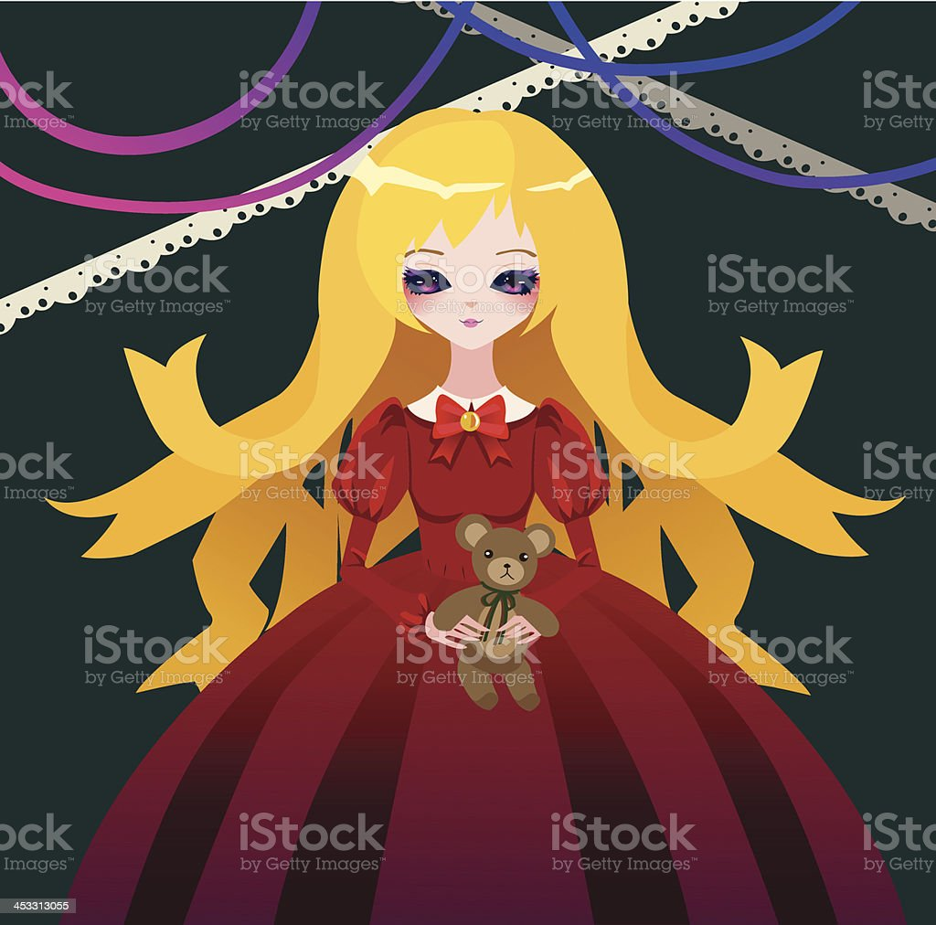 Xmas girl with teddy bear vector art illustration
