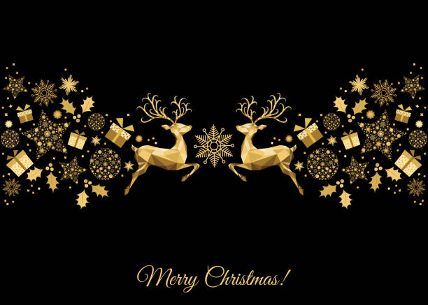 xmas gold decoration with reindeer, holly, gifts and  snowflakes. - reindeer stock illustrations