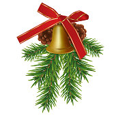 Xmas golden bell with fir branches, cones and red bow ribbon isolated on white background. Christmas or New Year elements for design. Vector illustration.