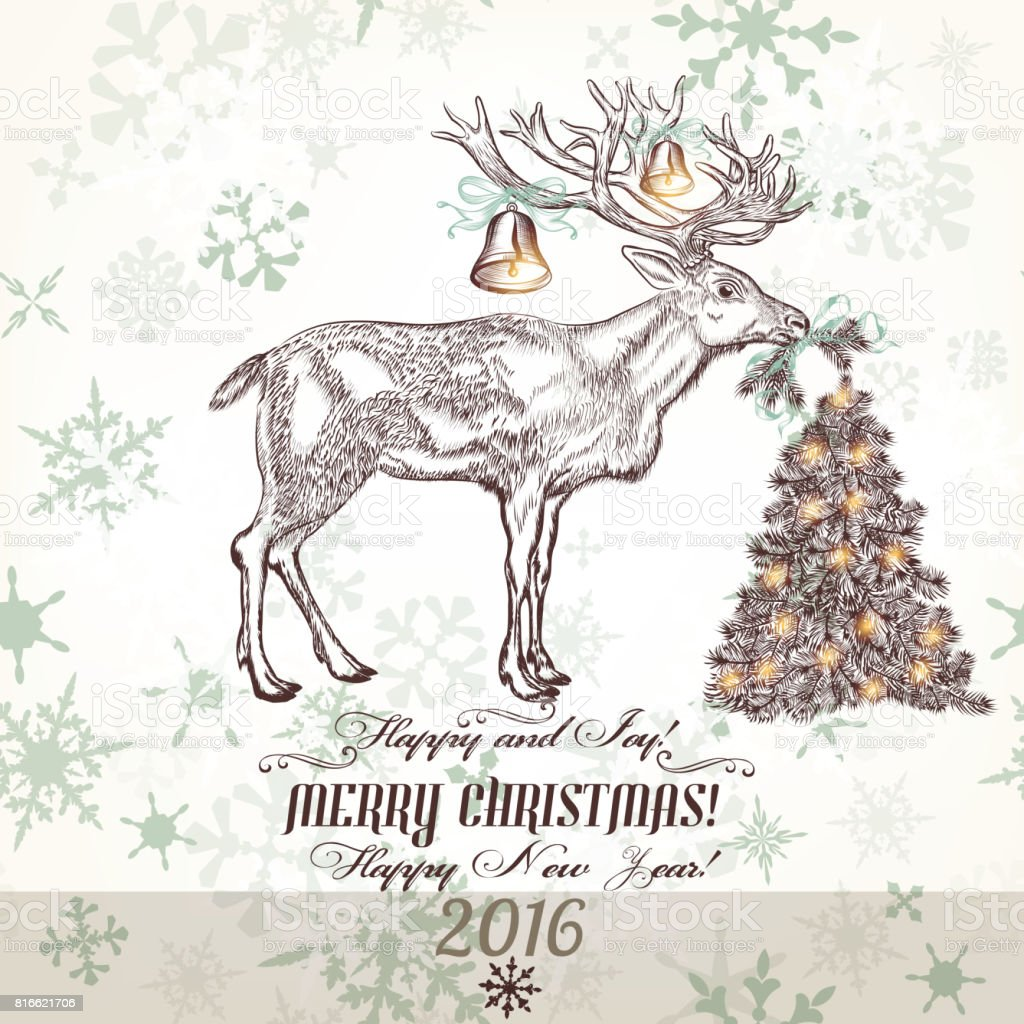 Xmas Greeting Card With North Deer Bells Christmas Tree And ...