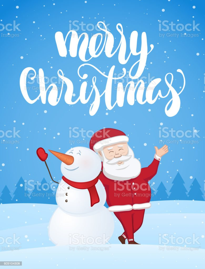Xmas Greeting Card With Santa Claus And Snowman On Snowy Landscape ...