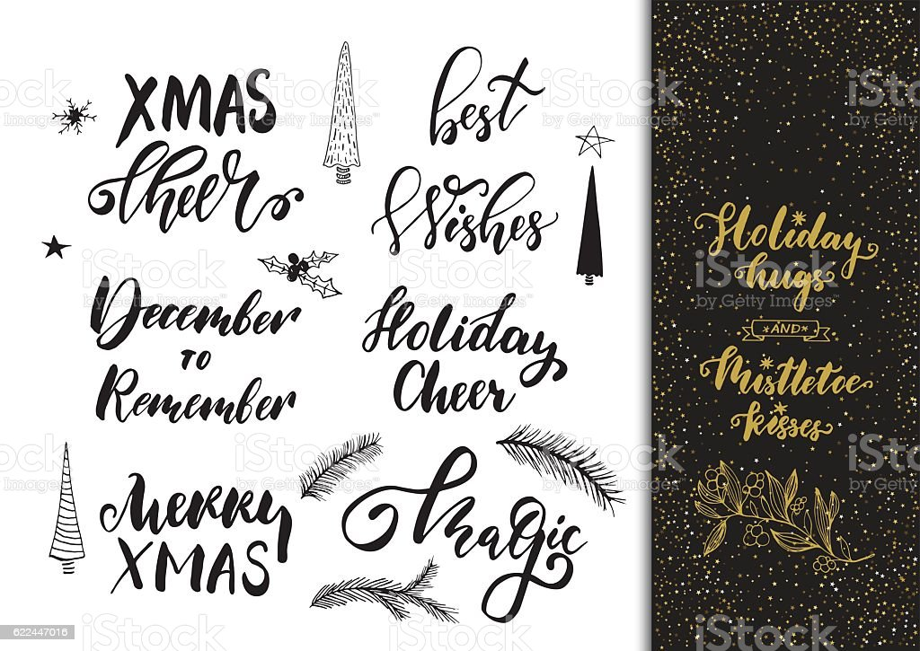 Xmas Hand Drawn Calligraphy And Brush Pen Lettering Set