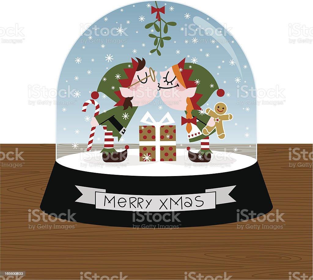xmas kiss elf elves snowball cute retro illustration vector royalty-free stock vector art