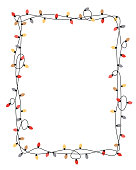 istock Xmas light bulbs frame, vertical rectangle shape. Simple but cute Christmas hand drawn frame. Vector illustration 1278783611