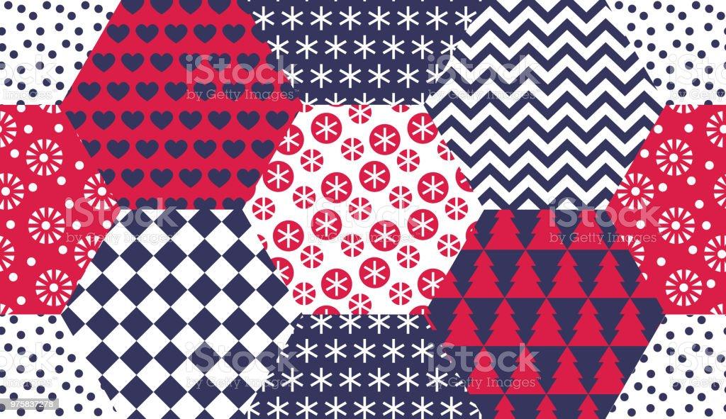 Xmas naiv Winter Symbole nahtlose Muster - Lizenzfrei Baum Vektorgrafik