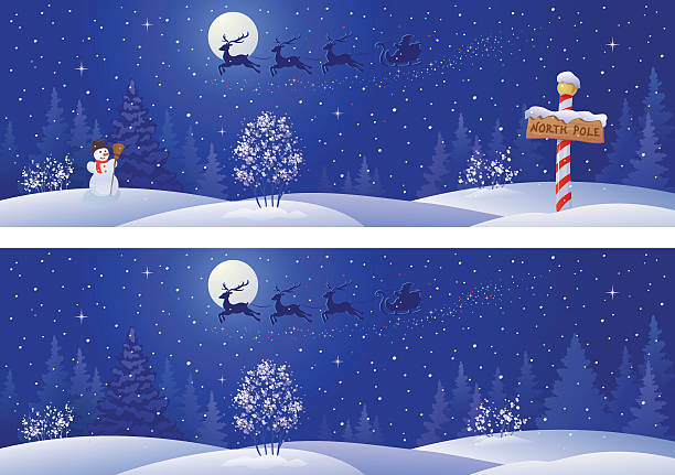 Xmas night banners Vector illustration of Santa sleigh above snowy night woods. RGB colors. north pole stock illustrations