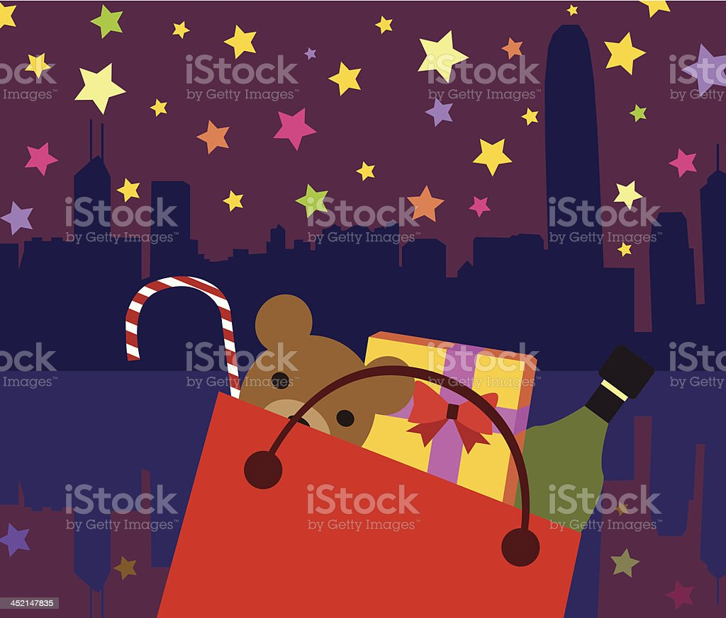 Xmas Present Bag vector art illustration