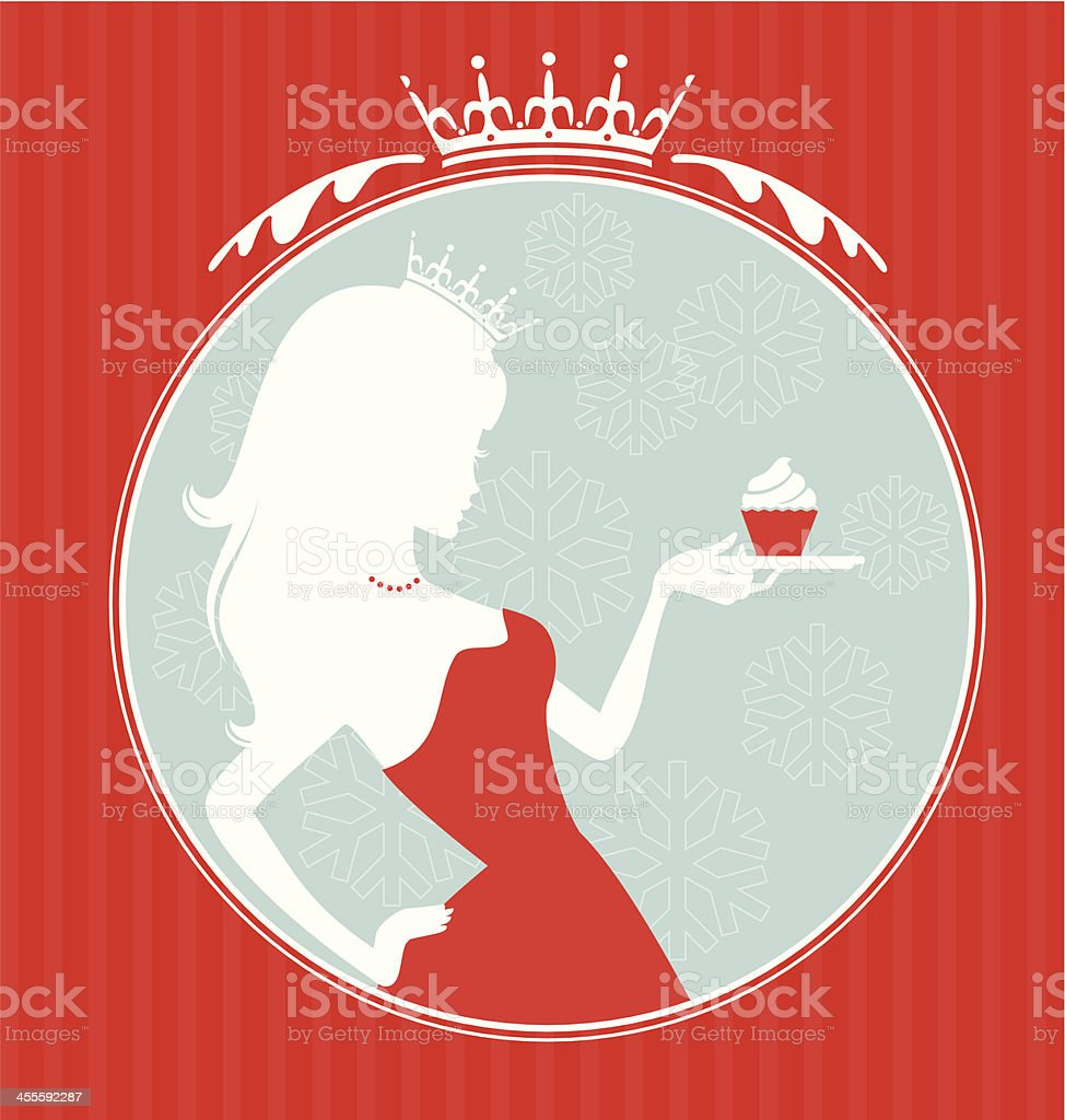 Xmas Princess Cupcake vector art illustration